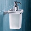 Wall Mounted Square Frosted Glass Soap Dispenser with Chrome Mounting 5781-13