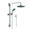 Shower System in Chrome with Hand Shower with Sliding Rail, Showerhead, and Water Connection SUP1014