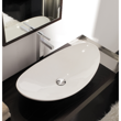 Oval-Shaped White Ceramic Vessel Sink 8206