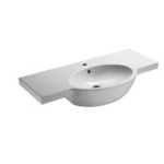 Bathroom Sink, GSI 665111, Curved White Ceramic Wall Mounted Bathroom Sink