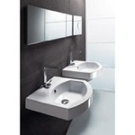 Bathroom Sink, GSI 758611, Curved White Ceramic Wall Mounted or Self Rimming Bathroom Sink