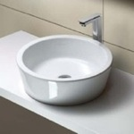 Bathroom Sink, GSI MSF5411, Round White Ceramic Vessel Bathroom Sink