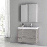 Bathroom Vanity, ACF ANS1396, 31 Inch Grey Walnut Bathroom Vanity with Fitted Ceramic Sink, Wall Mounted, Medicine Cabinet Included