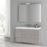 Bathroom Vanity, ACF ANS1398, 39 Inch Grey Walnut Bathroom Vanity with Fitted Ceramic Sink, Wall Mounted, Medicine Cabinet Included