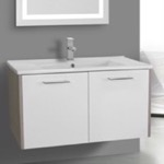 Bathroom Vanity, ACF NI20, 33 Inch White and Larch Canapa Bathroom Vanity Set, Wall Mounted