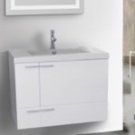 Bathroom Vanity, ACF ANS344, 31 Inch Glossy White Bathroom Vanity with Fitted Ceramic Sink, Wall Mounted