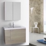Bathroom Vanity, ACF ANS1232, 31 Inch Larch Canapa Bathroom Vanity with Fitted Ceramic Sink, Wall Mounted, Medicine Cabinet Included