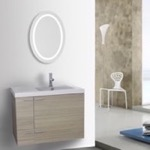 Bathroom Vanity, ACF ANS567, 31 Inch Larch Canapa Bathroom Vanity with Fitted Ceramic Sink, Wall Mounted, Lighted Mirror Included
