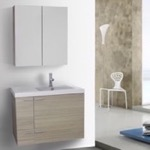 Bathroom Vanity, ACF ANS1254, 31 Inch Larch Canapa Bathroom Vanity with Fitted Ceramic Sink, Wall Mounted, Medicine Cabinet Included