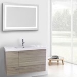 Bathroom Vanity, ACF ANS607, 39 Inch Larch Canapa Bathroom Vanity with Fitted Ceramic Sink, Wall Mounted, Lighted Mirror Included