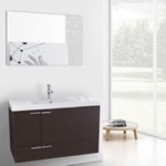 Bathroom Vanity, ACF ANS596, 39 Inch Wenge Bathroom Vanity with Fitted Ceramic Sink, Wall Mounted, Mirror Included