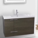 Bathroom Vanity, ACF ANS358, 39 Inch Grey Oak Bathroom Vanity with Fitted Ceramic Sink, Wall Mounted