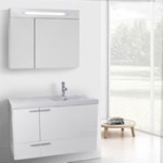 Bathroom Vanity, ACF ANS1323, 39 Inch Glossy White Bathroom Vanity with Fitted Ceramic Sink, Wall Mounted, Lighted Medicine Cabinet Included