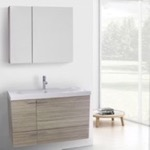 Bathroom Vanity, ACF ANS1345, 39 Inch Larch Canapa Bathroom Vanity with Fitted Ceramic Sink, Wall Mounted, Medicine Cabinet Included