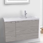 Bathroom Vanity, ACF ANS45-Grey Walnut, 39 Inch Vanity Cabinet With Fitted Sink