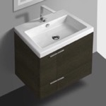 Bathroom Vanity, ACF ANS32-Grey Oak, 23 Inch Vanity Cabinet With Fitted Sink