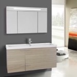 Bathroom Vanity, ACF ANS1362, 47 Inch Larch Canapa Bathroom Vanity with Fitted Ceramic Sink, Wall Mounted, Lighted Medicine Cabinet Included