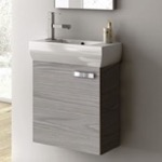 Bathroom Vanity, ACF C13-Grey Walnut, 18 Inch Vanity Cabinet With Fitted Sink