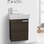 Bathroom Vanity, ACF C135, 19 Inch Space-Saving Grey Oak Bathroom Vanity with Ceramic Sink, Wall Mounted