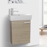 Bathroom Vanity, ACF C136, 19 Inch Space Saving Larch Canapa Bathroom Vanity with Ceramic Sink, Wall Mounted