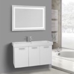 Bathroom Vanity, ACF C628, 39 Inch Glossy White Wall Mount Bathroom Vanity with Fitted Ceramic Sink, Lighted Mirror Included