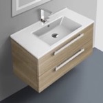 Bathroom Vanity, ACF DA05-Style Oak, 33 Inch Vanity Cabinet With Fitted Sink