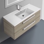 Bathroom Vanity, ACF DA06-Larch Canapa, 38 Inch Vanity Cabinet With Fitted Sink