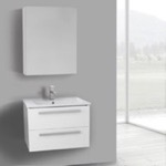Bathroom Vanity, ACF DA274, 25 Inch Glossy White Wall Mount Bathroom Vanity Set, 2 Drawers, Medicine Cabinet Included
