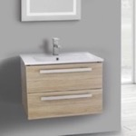 Bathroom Vanity, ACF DA24, 25 Inch Style Oak Wall Mount Bathroom Vanity Set, 2 Drawers