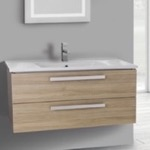 Bathroom Vanity, ACF DA30, 38 Inch Style Oak Wall Mount Bathroom Vanity Set, 2 Drawers