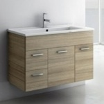 Bathroom Vanity, ACF LOR10, 33 Inch Larch Canapa Bathroom Vanity Set, Wall Mounted