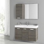 Bathroom Vanity, ACF C81, 39 Inch Grey Oak Bathroom Vanity Set