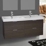 Bathroom Vanity, ARCOM DF03, 47 Inch Wall Mount Grey Oak Double Vanity Cabinet With Fitted Sink