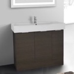 Bathroom Vanity, ARCOM O4O04, 40 Inch Floor Standing Grey Oak Vanity Cabinet With Fitted Sink