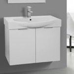 Bathroom Vanity, ARCOM KAL01, 28 Inch Wall Mount Glossy White Vanity Cabinet With Fitted Curved Sink