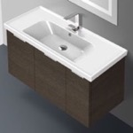 Bathroom Vanity, ARCOM LAM03, 39 Inch Wall Mount Grey Oak Vanity Cabinet With Fitted Sink