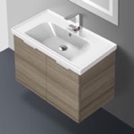 Bathroom Vanity, ARCOM LAM04, 31 Inch Wall Mount Larch Canapa Vanity Cabinet With Fitted Sink