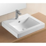 Bathroom Sink, Caracalla CA4024A, Rectangular White Ceramic Drop In Bathroom Sink