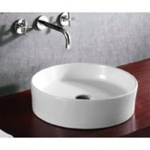 Circular White Ceramic Vessel Bathroom Sink