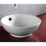 Bathroom Sink, Caracalla CA4129, Round White Ceramic Vessel Bathroom Sink