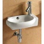 Bathroom Sink, Caracalla CA4522B, Round White Ceramic Wall Mounted or Vessel Bathroom Sink