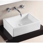 Bathroom Sink, Caracalla CA4532, Rectangular White Ceramic Vessel Bathroom Sink