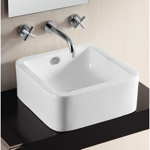 Bathroom Sink, Caracalla CA4941, Square White Ceramic Vessel Bathroom Sink