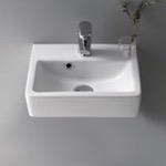 Rectangle White Ceramic Wall Mounted or Vessel Sink