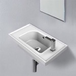 Bathroom Sink, CeraStyle 001700-U, Rectangle White Ceramic Wall Mounted or Drop In Sink