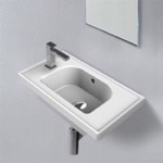 Bathroom Sink, CeraStyle 001800-U, Rectangle White Ceramic Wall Mounted or Drop In Sink