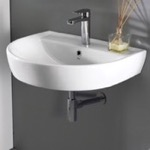 Bathroom Sink, CeraStyle 007800-U, Round White Ceramic Wall Mounted Sink