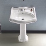 Bathroom Sink, CeraStyle 030200-PED, Classic-Style White Ceramic Pedestal Sink