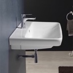 Bathroom Sink, CeraStyle 030600-U, Rectangle White Ceramic Wall Mounted or Drop In Sink