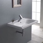 Bathroom Sink, CeraStyle 031000-U, Rectangle White Ceramic Wall Mounted or Self Rimming Sink